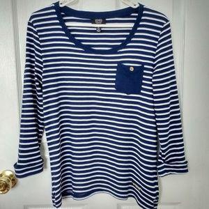 Jones NY striped long sleeve blouse